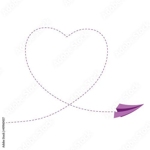 Sign with paper plane and heart vector illustration