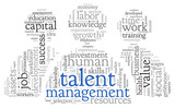 Talent management in word tag cloud poster