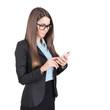 Attractive businesswoman using smartphone