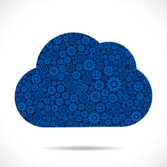 cloud design with blue gear stock vector