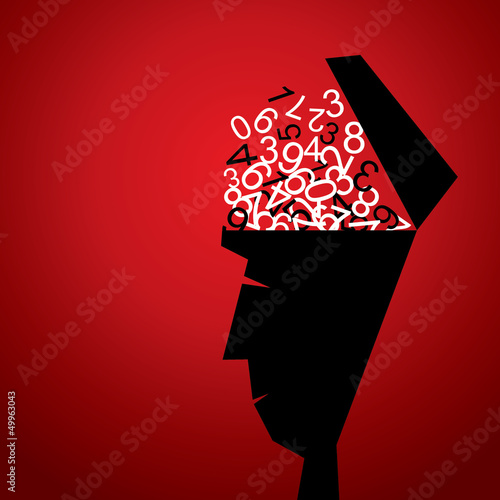 numbers in men head stock vector