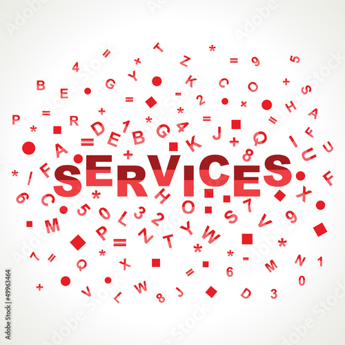 Services word with in alphabets
