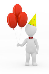 3d grey cartoon men with balloons. Birthday concept