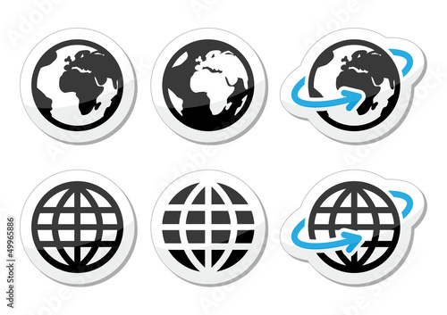 Globe earth vector icons set with reflection