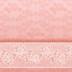 Roses on background, Square lace pink
