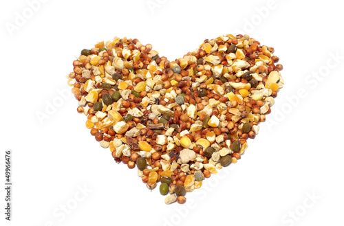 wild bird food containing grains and chickpea in heart shape
