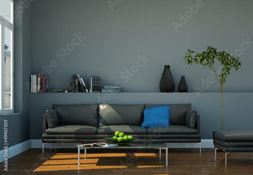 modernes ledersofa grau von virtua73 lizenzfreies foto. Black Bedroom Furniture Sets. Home Design Ideas