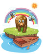 A brown bear and the wooden boat