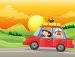 A girl and a boy riding in a red car