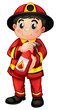 A fire man holding a fire extinguisher