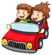 A girl and a boy riding in the red car