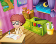 A boy writing inside his room