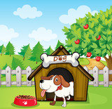 A dog inside a doghouse with a dogfood
