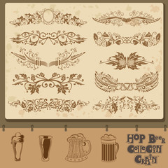 hop beer element collection with mug