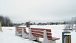 panorama colorful beach children playground toys winter snow