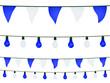 Guirlandes fanions et ampoules en bleu et blanc