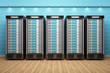 5 Webserver vor blauen Wand