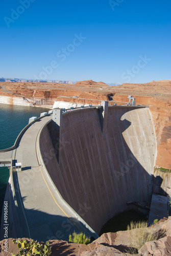 Hoover Dam in sunny day on the border of Arizona and Nevada