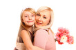Daughter and mother with flowers on a white background hugging