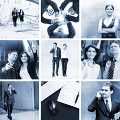 Monochromatic collage of young business people working