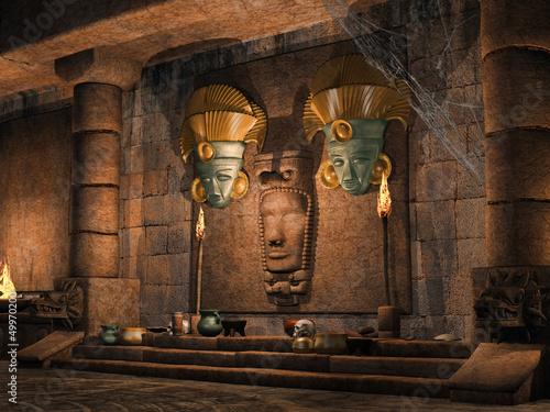 Starożytna świątynia Majów z rytualnymi maskami