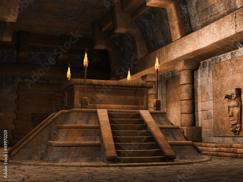 Ołtarz w kształcie piramidy w starożytnej świątyni