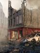 Ruiny budynku i gruz na ulicy