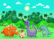 Funny dinosaurs in the forest.