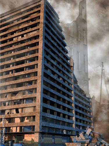 Apokaliptyczny widok ruin miasta