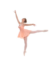 A young and beautiful ballet dancer isolated on white