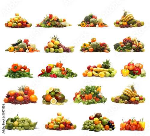 A collage of fresh and tasty piles of fruits and vegetables