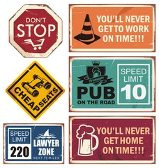 Vector illustration of road signs with unique creative messages.