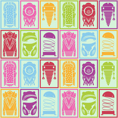 Pattern robots, vector illustration
