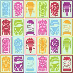 Pattern robots, vector illustration