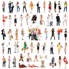 A set of many different persons posing in different clothes