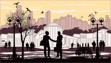 silhouettes of people on city background with birds