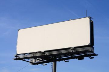 Empty billboard on cloudy sky.