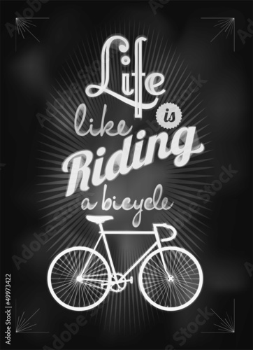 Retro Bicycle Illustration On Blackboard With Chalk