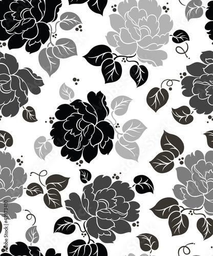 Deurstickers Bloemen zwart wit Seamless Floral-Wallpaper
