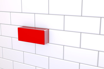 3D Red Brick In A Wall