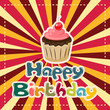 vector illustration of cup cake on Happy Birthday background