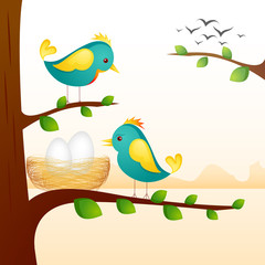 vector illustration of birds with nest sitting on tree branch