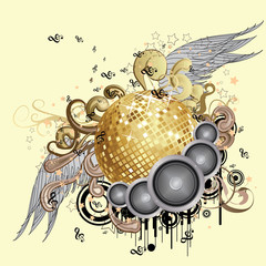 Gold disco ball with wings