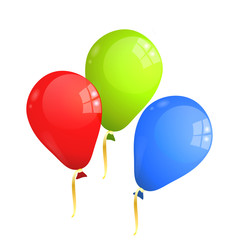 Red, green and blue (RGB) balloons isolated on white