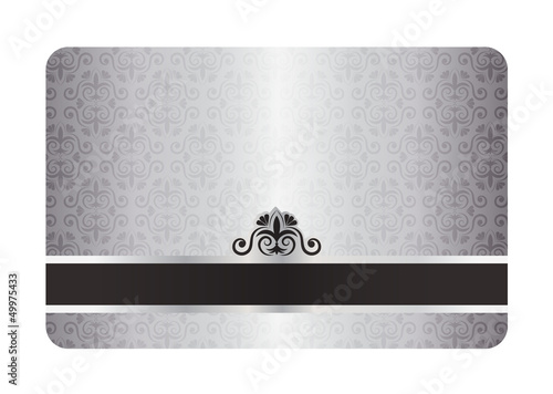 Luxury silver card with vintage pattern and black label