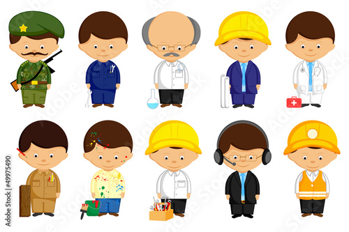 vector illustration of man in different profession uniform