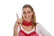 Frau macht Werbung - isoliert in Rot