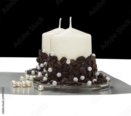 candles on the white background