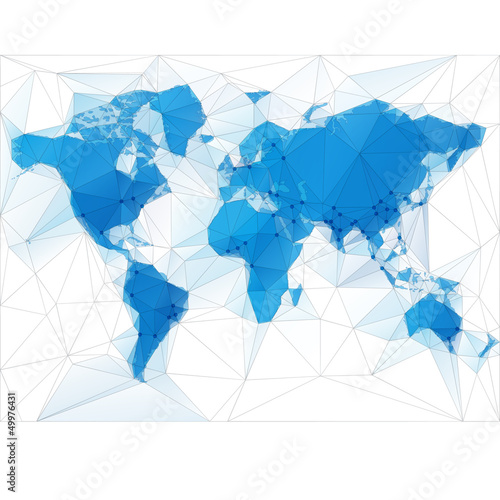 World Map Illustration with largest cities in the world