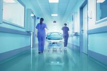 "Постер, картина, фотообои ""Bright lights at the end the hospital corridor. The concept of l"""